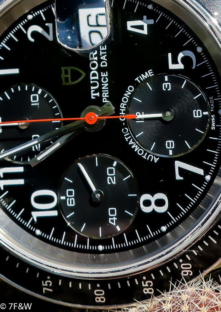 Macro photo of Tudor Pince Date dial