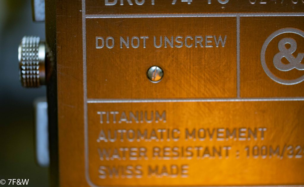 "Bell&Ross Titanium Orange back case ""do not unscrew"""