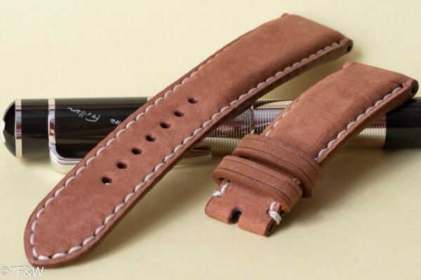 Time light brown leather watch strap