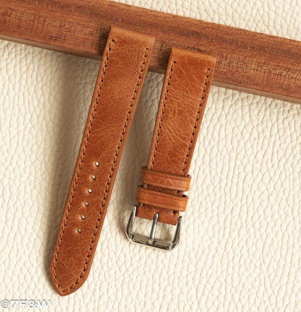 cognac leather watch strap