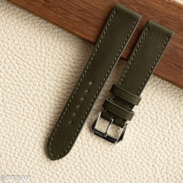 khaki leather watch strap