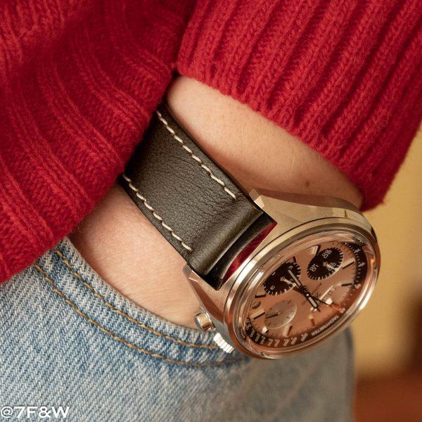 brown leather watch strap white stitch