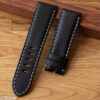 Padded natural leather watch strap for Panerai in black
