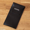 Black leather watch pouch