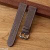 Grey nubuck watch strap with contrasting stitching